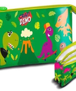 Estojo Triplo Verde Crazy Dino Dinossauros