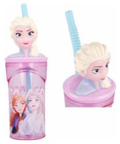 """Garrafa c/ Tampa 3D Elsa """"Elements"""" Frozen"""