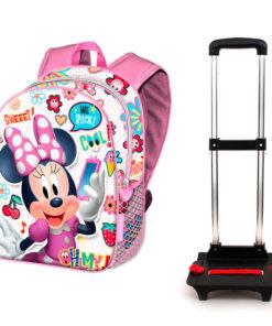 """Mochila Minnie com Trolley Infantil """"Oh My"""""""